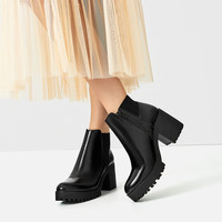TRACK SOLE HEELED ANKLE BOOTS