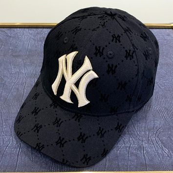 NY  New fashion embroidery letter more letter print couple cap hat Black