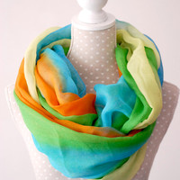 Blue, Green, Orange lightweight soft oversized Striped INFINITY scarf Loop ScarfGreat with your outfit