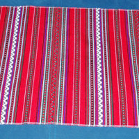 Vintage Ukrainian Rushnyk Red and White Table runner/ Towel/ Woven Serape Table /Tapestry Table topper /ethnic home /rustic kitchen decor