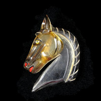 Horse Around - Vintage 1940s Carved Lucite Horse Brooch with Painted Details, Early Plastic Jewelry, Art Deco Pin