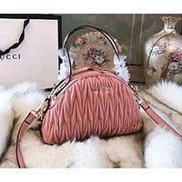 MIU MIU High Quality Stylish Women Leather Chic Handbag Shoulder Bag Crossbody Satchel Pink