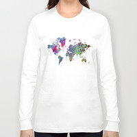 World Map Watercolor Long Sleeve T-shirt by Bitter Moon