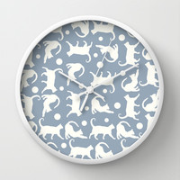 Cats Stretching: Stormy Wall Clock by Eileen Paulino