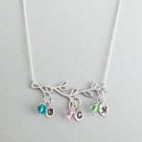 Personal, Birthstone, Initial, Leaf, Gold, Silver, Necklace, Family, Tree, Necklace, Family, Lovers, Birthday, Friends, Gift, Jewelry
