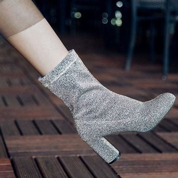 Pointed Toe 2018 New Trend High Chunky Heel Half Boots CN34-CN43
