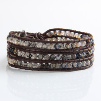 Strands Leather Black Onyx Beads Weave Bracelet Handmade Friendship Bracelets