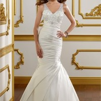 Mermaid V-neck satin with embroidery wedding dress WD2121