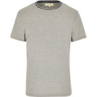 River Island MensWhite and navy stripe tip neck t-shirt