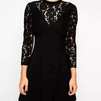 Black Lace Sleeve Zip-back Pleated Dress