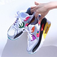 NIKE Air Max 90 hot seller in the fashion of neutral rainbow patchwork color small Air cushion shoes