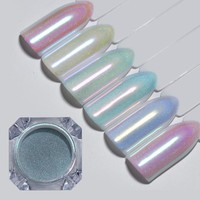 6 Pcs BORN PRETTY Chameleon Nail Glitter Mirror Holographic Pastel Sugar Mermaid Powder Nail Art Chrome Pigment for UV Gel