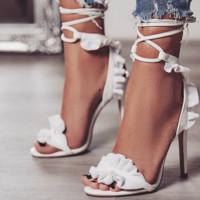 Hot style popular lace cross-laced heels sandals