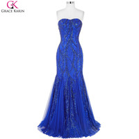 Royal Blue Prom Dresses Grace Karin Strapless Mesh Luxury Elegant Wedding Party Formal Ball Gowns Long Sequin Mermaid Prom Dress