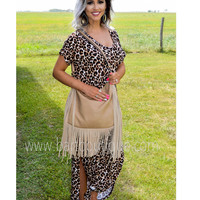 Tan Fringe Slouch Purse