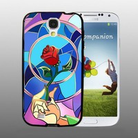 Beauty and the beast give rose design for Samsung Galaxy S4 Black case