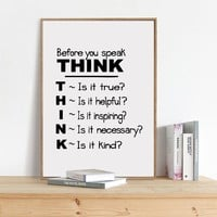 Motivational Quote Canvas Art Print Poster , Think Before You Speak Quote Canvas Painting Poster School Classroom Wall Art Decor