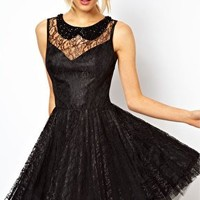 ASOS Lace Skater Dress with Pleated Skirt at asos.com