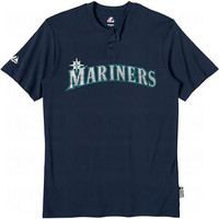 Seattle Mariners (ADULT MEDIUM) Two Button MLB Officially Licensed Majestic Major League Baseball Replica Jersey