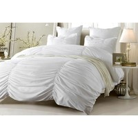 RUCHED DESIGN WHITE BEDDING SET-INCLUDES COMFORTER AND DUVET COVER - STYLE # 1005 C - CHERRY HILL COLLECTION