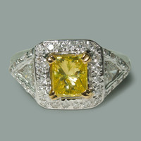 3.01 carat yellow canary radiant diamond three stone style ring white gold 14K