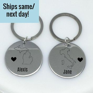 Best Friend Keychain, State Keychain, Engraved State Keychain, Long Distance, Boyfriend Gift, Couple Keychain, Any State or Country