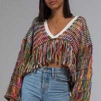 AKIRA Label Knit Fringe Long Sleeve Sweater in Multicolor