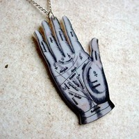 palmistry palm reading hand necklace by TheTamerlane on Etsy