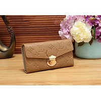 LV Popular Women Shopping Leather Buckle Wallet Purse(8-Color) Khaki Print I-WMXB-PFSH