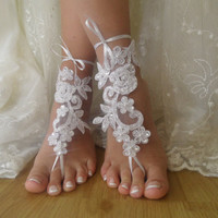 white lace Barefoot Sandals, Nude shoes, Foot jewelry,Wedding, Sexy, beach wedding barefoot sandals Anklet