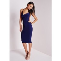 Missguided - Slinky Cowl Front Midi Dress Navy