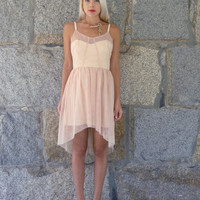Edme: Blush Pink Sweetheart neckline silk and tulle dress with butterfly hem