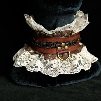 Lace & Leather Steampunk Slave Collar- Victorian Ruffle Choker