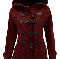 Wine Red Hooded Long Sleeve Button Design Coat