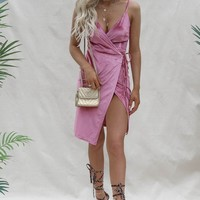 With Benefits Pink Velvet Wrap Midi Dress