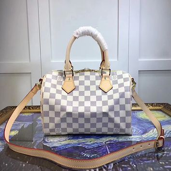 LV Louis Vuitton MONOGRAM LEATHER SPEEDY 25 HANDBAG SHOULDER BAG