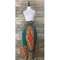 Teal Dashiki Wrap Skirt