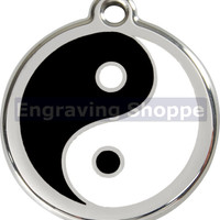 Ying & Yang Enamel and Stainless Steel Personalized Custom Pet Tag with LIFETIME GUARANTEE ID Tag Dog Tags and Cat Tags Free Engraving