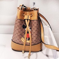 GUCCI x Disney Mickey Mouse Women Shopping Leather Bucket Bag Crossbody Satchel Shoulder Bag