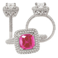 3.80 Ctw Pink Princess Solitaire  Stud  Sterling silver Ring For Her