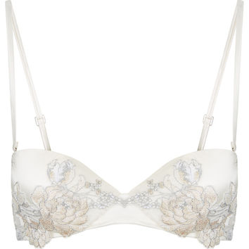 Off-white bandeau bra in silk satin and embroidered tulle