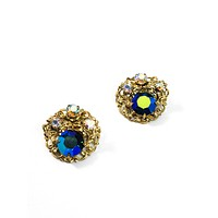 Vintage mid century peacock aurora borealis gold toned clip on cluster earrings