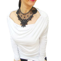 Free Shipping // Black Lace Gothic Steampunk Bib Necklace, Vintage Inspired Venice Lace Neck Corset Collar, Vampire, Maleficent Costume