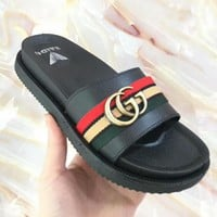 New style cool slipper female summer fashion wear with thick bottom a word to drag Korean version out slipper