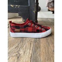 Blowfish Play Sneakers in Red Buffalo Plaid (6-11)