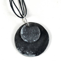 Ceramic Double Disc Necklace Organic Smoky Black Jewelry with White Accents on triple Black waxed cotton cord in Handmade Jewellery Pouch