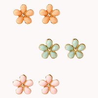 FOREVER 21 Dainty Floral Stud Set Mint/Peach One