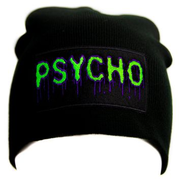 Psycho Purple & Green Drip Melting Black Knit Cap Beanie Occult Horror