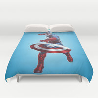 CAPTAIN AMERICA Duvet Cover by Hands In The Sky