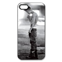 PC-Beauty Pop Idols-Justin Bieber Black Print Hard Shell Cover Case for iPhone 5
